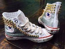 converse all star con laterali glitter argento e borchie a spillo oro