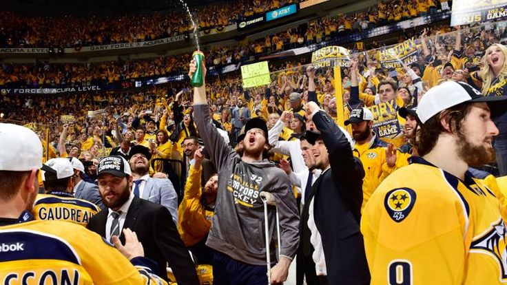 Nashville, TN - May 22: Ryan Johansen #92 of the Nashville Predators celebrates with teammates after they defeated the Anaheim Ducks 6 to 3 in Game Six of the Western Conference Final during the 2017 Stanley Cup Playoffs at Bridgestone Arena on May 22, 2017 in Nashville, Tennessee. (Photo by Frederick Breedon/Getty Images)