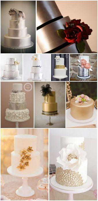 11 incríveis bolos metálicos de casamento.   Galeria do Blog Clube Noivas   www.clubenoivas.com