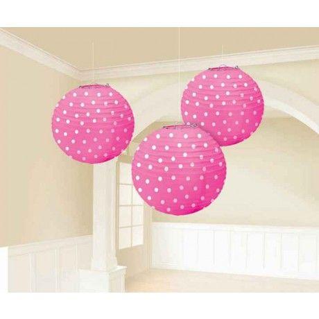 "Bright Pink Polka Dot Paper Lanterns | 3pc, 9.5"" for $9.65 in Lanterns & Pom Poms - Decorations - Wedding | Zurchers"