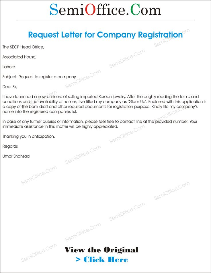 for company registration application