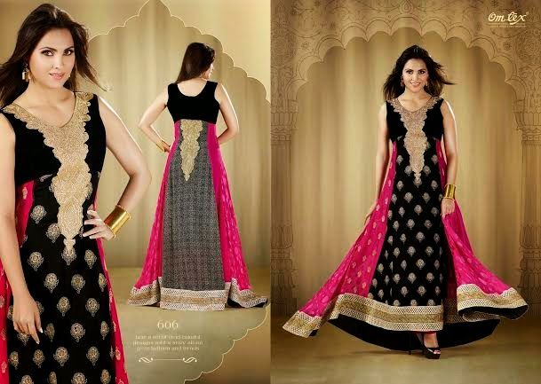OFM-OMLARA-606 Ethnic Black and Mauve Georgette Kameez with santoon Bottom & inner. Heavy Golden Colour Thread Embriodery makes it more beautiful. Chiffon dupatta included.