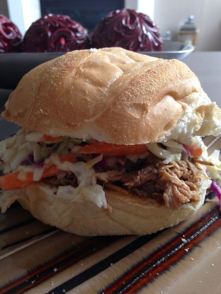Homemade pulled pork sandwich
