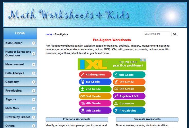 math worksheets + kids pre-algebra worksheets