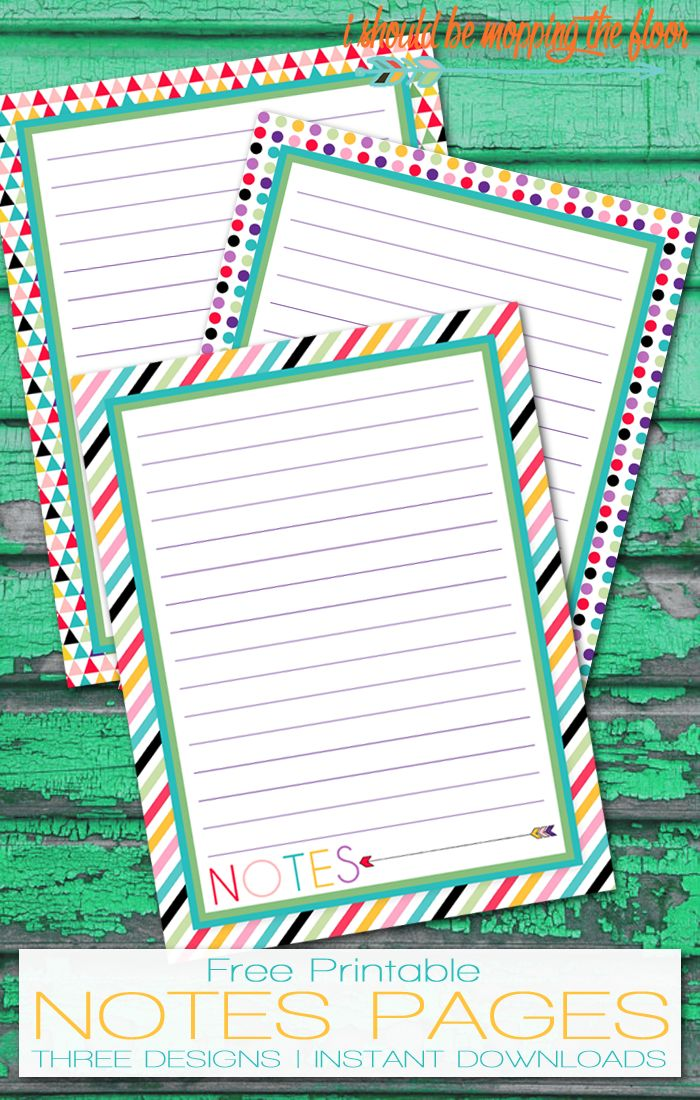 Free Printable Notes Pages | This is a part of a series of over 30 free organizational printables from ishouldbemoppingthefloor.com | Three Designs & Instant Downloads