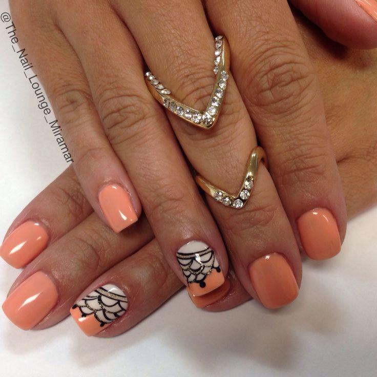 Gel Nail Art Gallery: Coral Gel Nail Art Design