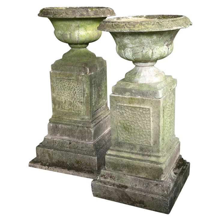 Pair of English Garden Urns on Plinths | From a unique collection of antique and modern sundials at https://www.1stdibs.com/furniture/building-garden/sundials/