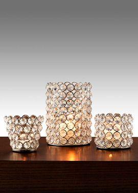 Sparkly crystal bead tea light & votive candle holders