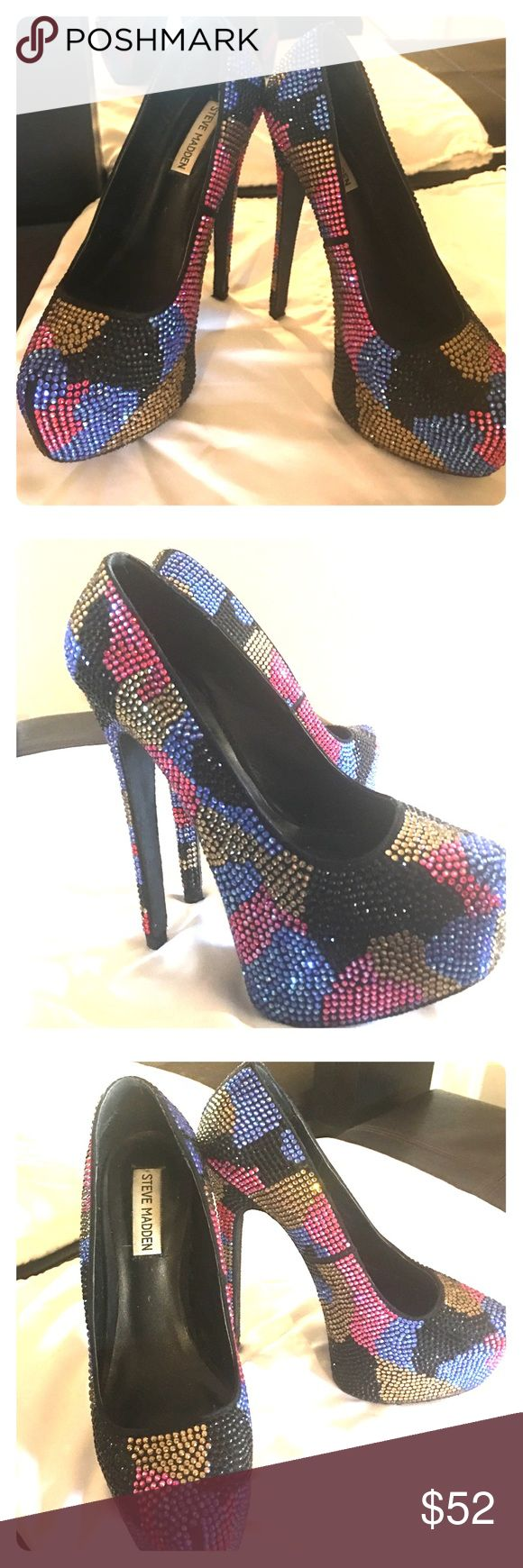 Steve Madden Dyvinal Crystal Studded Platform Heel Steve Madden Dyvinal Rhinestone Crystal Studded Platform Stilettos! Size 7. These extremely high stilettos will have you sticking out in the crowd for sure! With an exaggerated platform and camouflage style print, you'll be the hit of the party 🎉 Multicolored Hot pink, Black, Yellow & Blue Crystals. There is only a few crystals missing on the very bottom of the right heel (picture included) otherwise they are in excellent condition! Will…