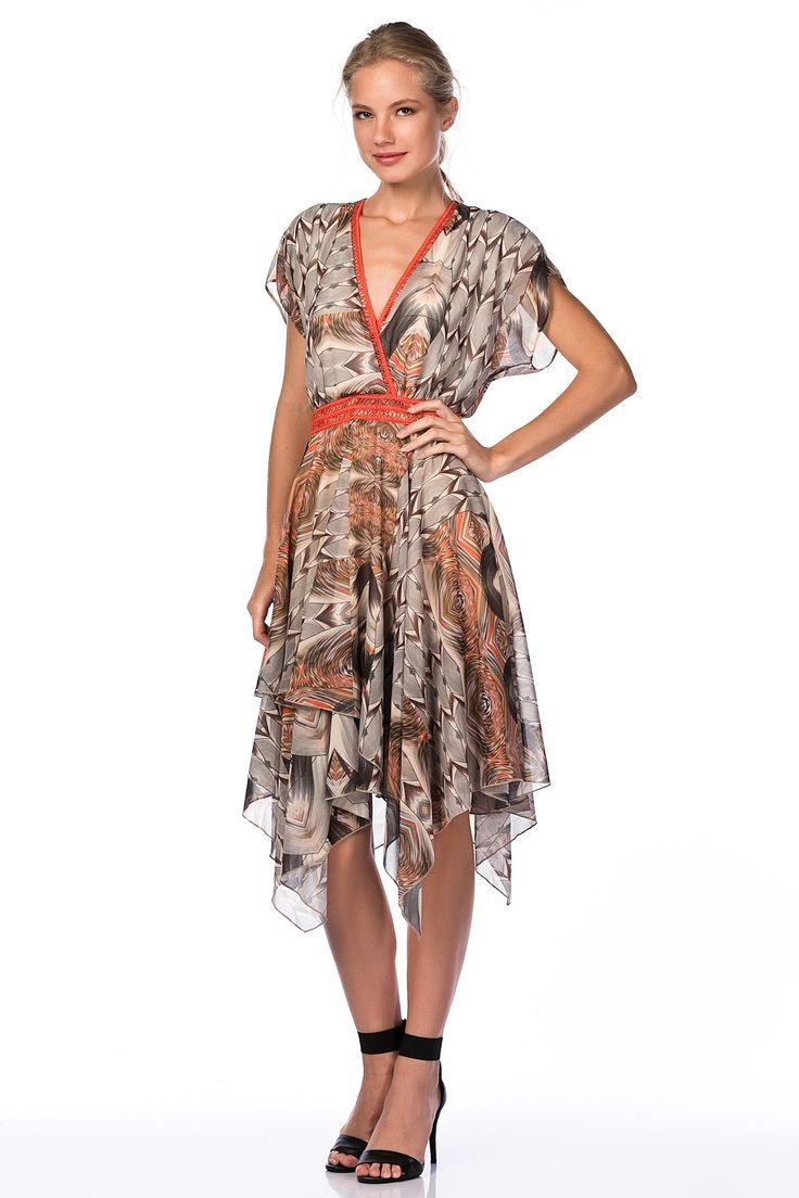 Empirme Mercan V Yaka Asimetrik Elbise 124U0153000 Codentry | Trendyol