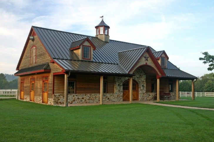 Home & Apartment, Rustic Pole Barn Construction As Home Living With Natural Stones Exterior Decoration And Wood Pillars  Two Attics Buildings Wood Siding And Metal Roofing ~ Pole Barn House Designs: the Escape from Popular Modern House Style