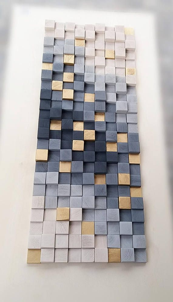 Wall art, wooden wall decor, wooden wall sculpture, rustic wood mosaic, modern wooden art wall hanging, 3D wall art, gray and gold abstract
