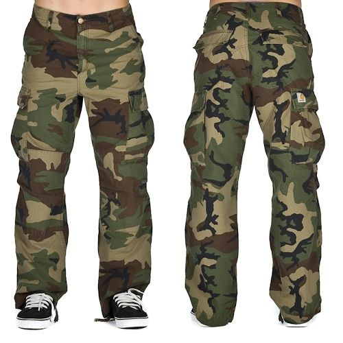 Carhartt Cargo Pant Columbia Camo Green Stone Washed
