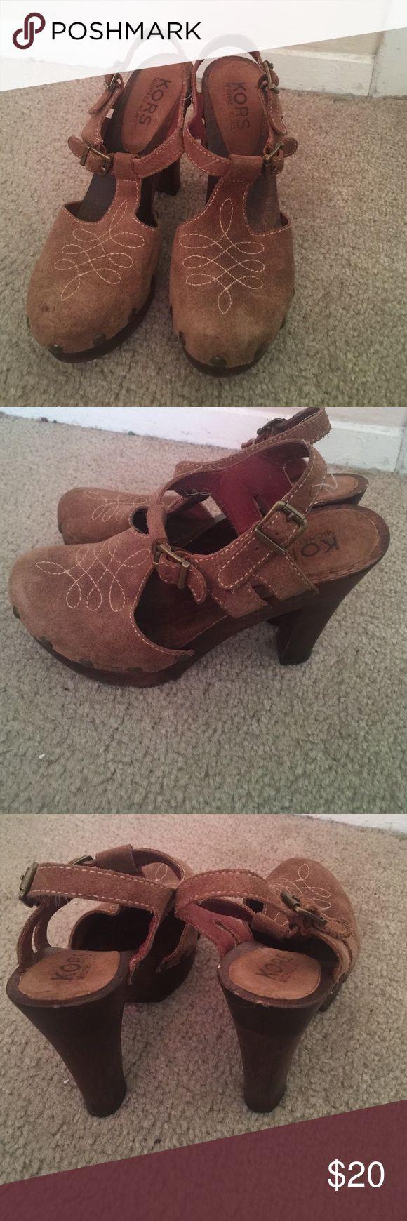 Michael Kors Wooden Heels.. great condition Michael Kors .. great condition KORS Michael Kors Shoes Heels