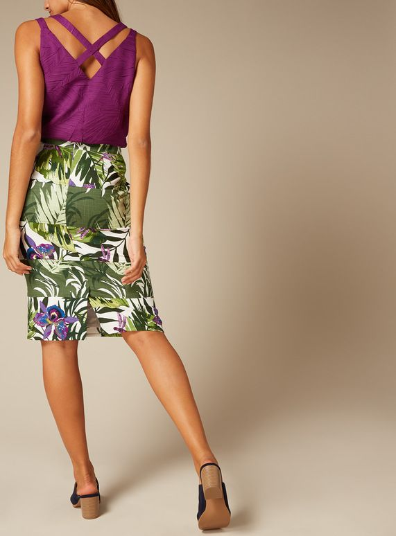 616b25ba27813 Premium Multicoloured Leaf Print Panel Pencil Skirt
