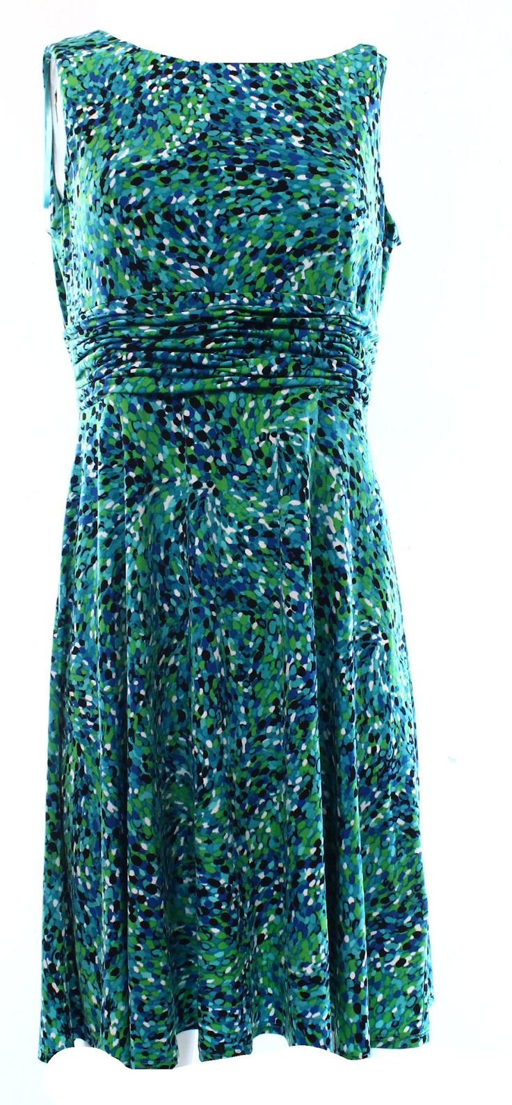 Jessica Howard NEW Green Dotted Print Women's 10P Petite Sheath Dress $69