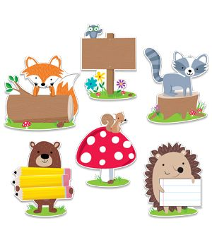 "These cute and furry Woodland Friends 10"" Jumbo cut-outs will add charm to bulletin boards, doors, and any classroom space. These colorful woodland animals (owl, fox, hedgehog, squirrel, bear and raccoon) are perfect for use in a variety of classroom displays and themes: science, nature, outdoors, animals, and camping."