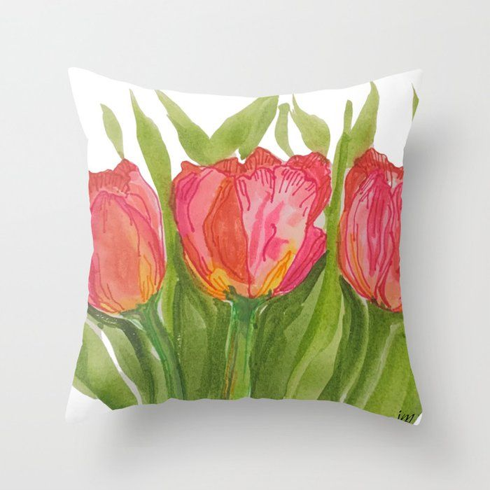 Pink Tulips Throw Pillow By Paintedapron Society6 In 2020 Throw Pillows Pillows Pink Tulips