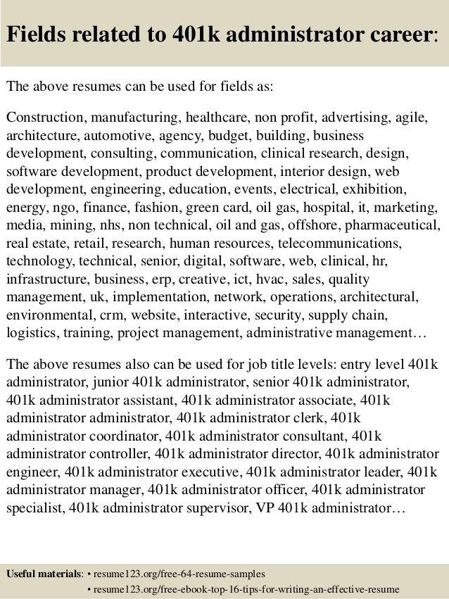 401K Resume Examples Resumeexamples