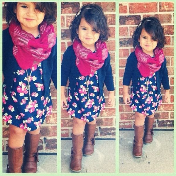 I need a hot pink scarf for lizzy ! she has the dress and the sweater and brown boots