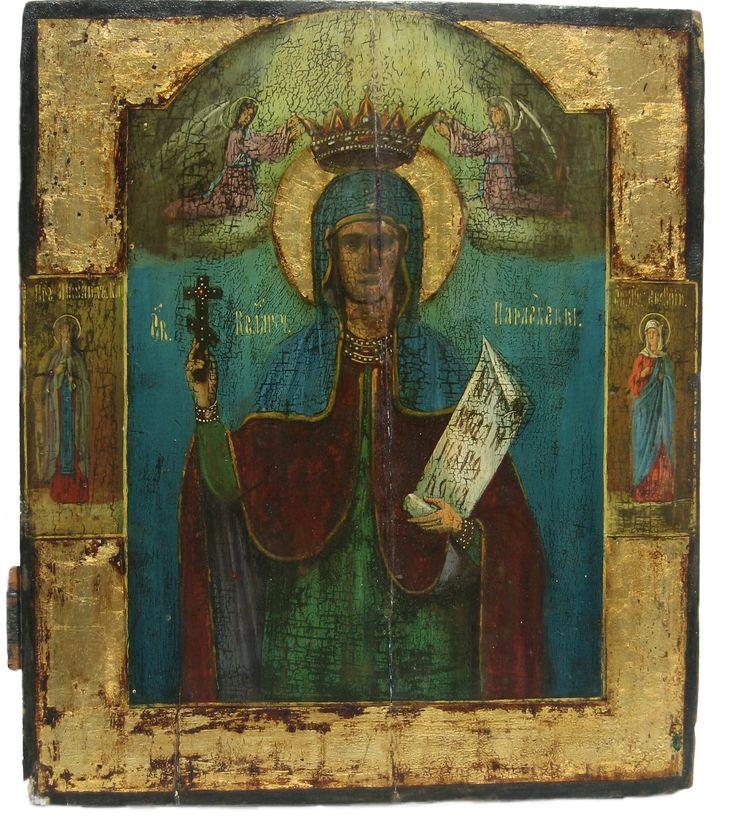 This is a 19th-century Egg Yolk Tempera icon of Saint Paraskeva