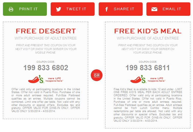 Pinned March 30th: Free dessert or kids meal with your entree at #Chilis #coupon via The Coupons App