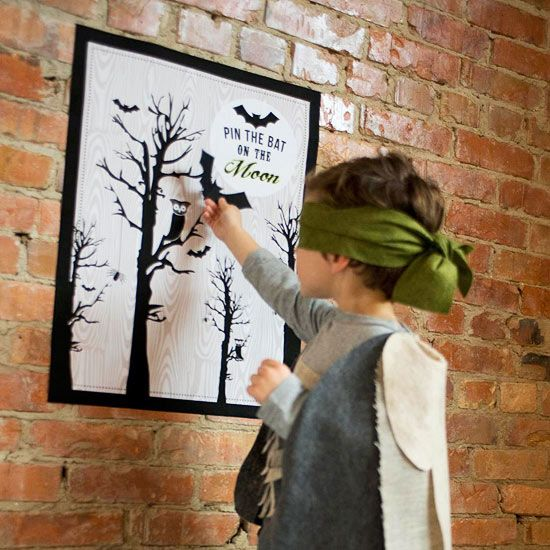 Spooky Forest Halloween Party Printable | Pin the Bat on the Moon Party Game