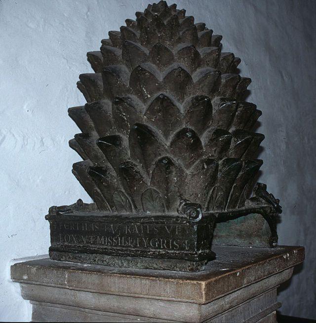 Bronze Pine Cone at entrance.