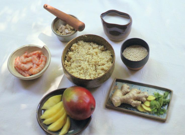 Ingredientes para la receta de Quinoa con camarones y leche de coco