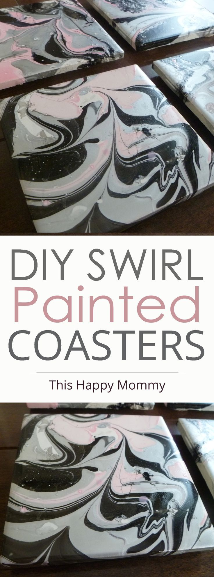 DIY Swirl Painted Coasters -- With a swirl painted design, these DIY coasters are decorated with nail polish. | http://thishappymommy.com