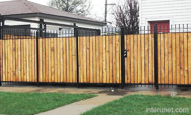 Metal Fence With Wood Combination Landscape Metal