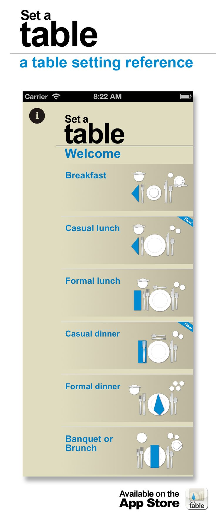Set a table - a table setting reference for iPhone