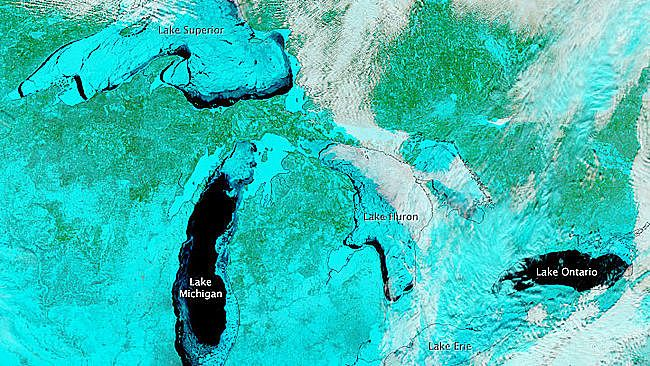Harsh Winter Causes Greatest Great Lakes Ice Coverage Since 1979  Lake Superior, Huron, Michigan and Ontario on Feb 19, 2014