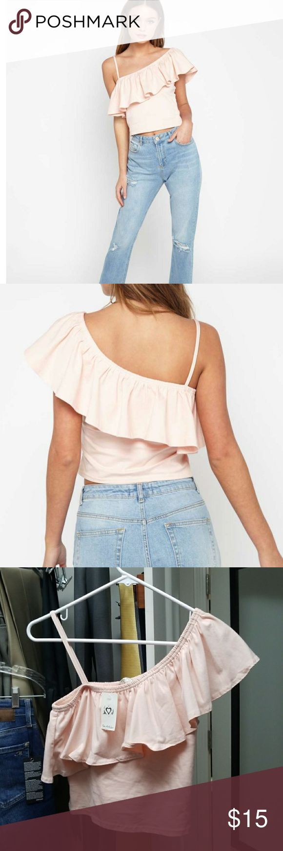 Miss Selfridge One Shoulder Frill Crop Top Nude one shoulder crop top with frill detail.  94% Cotton, 6% ElastaneMachine washable Miss Selfridge Tops Crop Tops