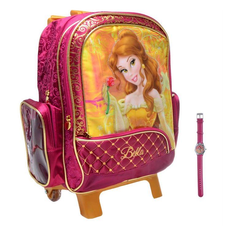Confira essa coleção mágica da Dermiwil! As meninas vão adorar essa mochila com rodinhas das Princesas Disney! Ela acomoda cadernos, pastas e artigos escolares. Com um amplo espaço interno, facilita a organização e o transporte dos materiais escolares, garantindo muita praticidade. A Mochilete da Dermiwil possui zíperes, frente estampa personalizada e vem acompanhada de um lindo relógio, para sua princesinha nunca chegar atrasada.  As mochilas Princesas Disney vêm em dois tamanhos. Veja o…