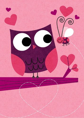 Gartner Greetings Valentine's Day Card Owl and Bug Love illustration by Steve Mack