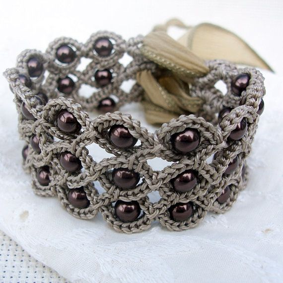 Crochet Jewelry Bohemian Bracelet - what a great idea! Use some kind of girly ribbon to tie a flat crochet work together to make a nice little piece of jewelry. Love it!!