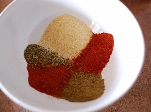 Chili Powder Recipe: 1 t paprika, 2 t cumin, 1 t cayenne, 1 t oregano, 2 t garlic powder