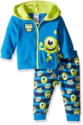 Disney Baby Boys 2Piece Mike from Monsters Inc Hoodie and Printed Jogger Set Blue 03 Months *** Click image to review more details.