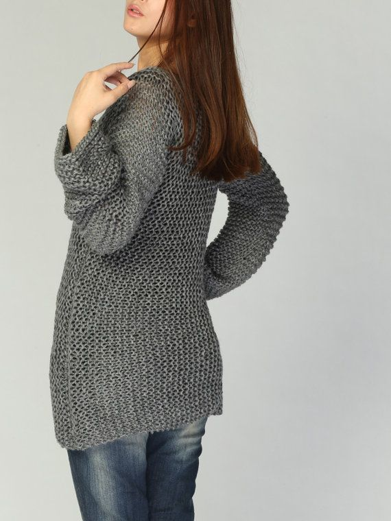 Punto de sweater suéter largo del Eco algodón gris oscuro /