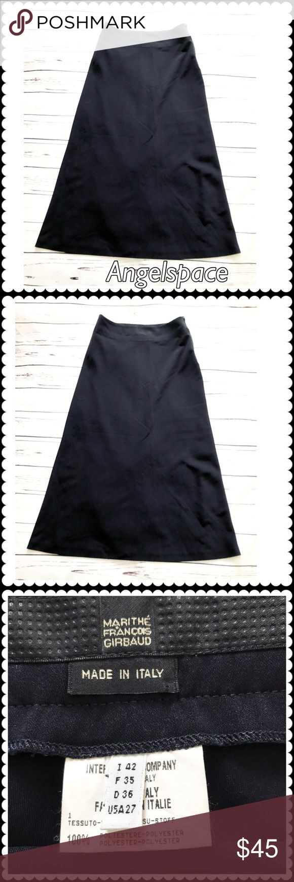 Vintage Marithe Francois Girbaud Navy long skirt. Marithe Francois Girbaud vintage Navy long skirt. From 90's when the brand was really hot. Size Italian 42. US 27. Worn and stored.  No flaw. Please see the last photos for measurements. Marithe Francois Girbaud Skirts
