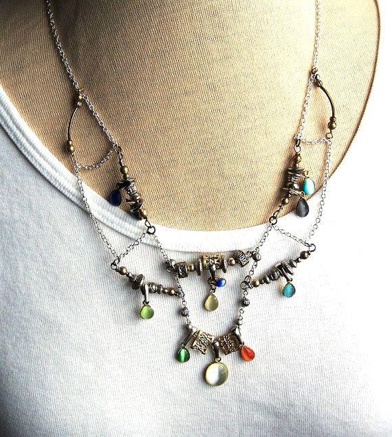 Marakesh Trapeze style Bib Necklace  Silver Chain  19 by sewandso, $30.00