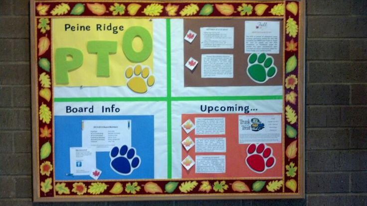 PTO Bulletin Board       Have you updated your bulletin board yet? Our school has many exciting events coming up this fall, so I updated the board for October and will update again for November.  The color block style I first chose allowed me to simply change two sections of the board - keep it simple silly! I also updated the border to grab attention. I had the whole project done in about 30 minutes, including typing & printing time. Most of the info came straight from the fall newsletter…