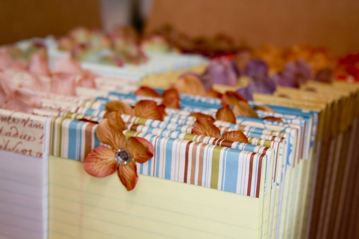 Cute idea for gifts/party favors (glue folded over paper strip to decorate regular notepad)