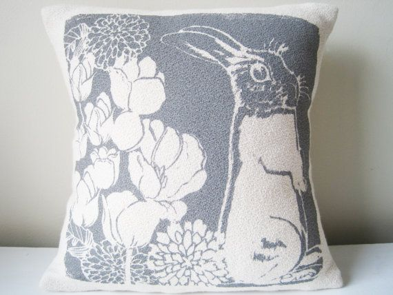 Bunny pillow Charcoal Gray 10 inch Hand Printed Bark by erinflett