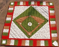 Baseball Quilt.  LOVE this but with a different team in the center, like the Rangers, Indians, Cardinals, Rockies, or Cubbies :^)
