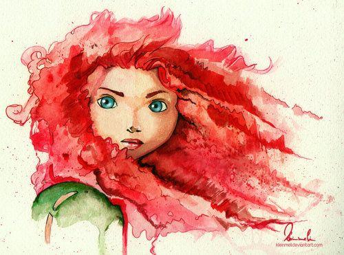 Amazing water color of Merida | #illustrator #illustration #art #color #paint #ilustração #arte #sketch #sketchbook #rough #wip #cartoon