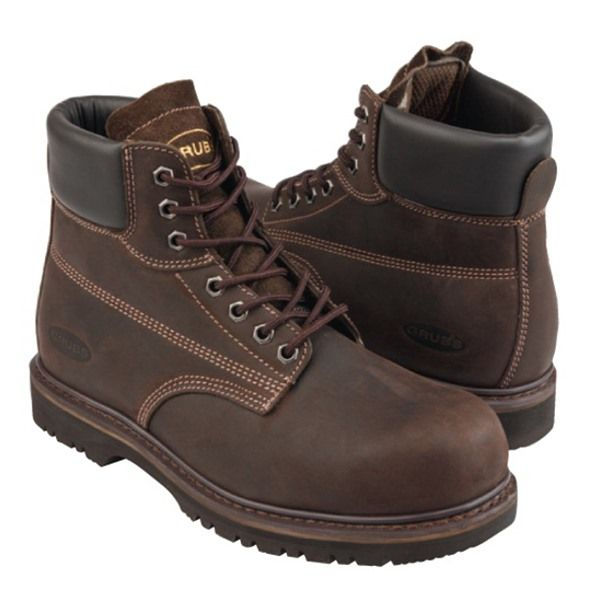 Grubs Leather Thunder 7 Eyelet Safety Boot In Dark Brown features DURALITE Shock absorbing sole.