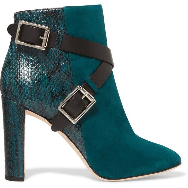 Jimmy Choo Dee buckled elaphe-paneled suede ankle boots ($485) ❤ liked on Polyvore featuring shoes, boots, ankle booties, teal, suede ankle booties, zipper ankle boots, bootie boots, high heel boots and short boots