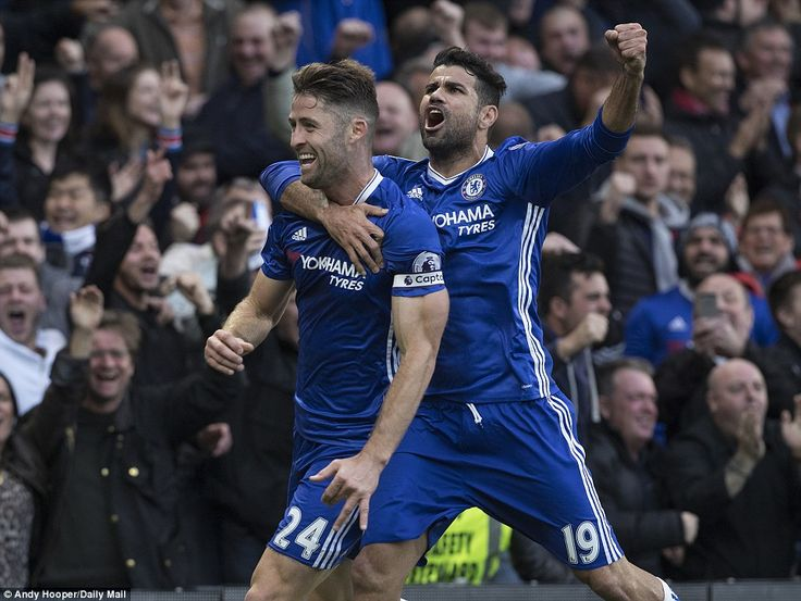 Gary Cahill celebrates with Diego Costa scoring : Chelsea 4-0 Manchester Utd, 23 Oct 16